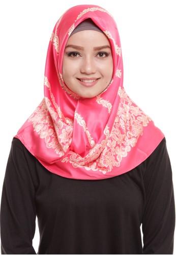 Mybamus Carving Square Hijab Satin Peach