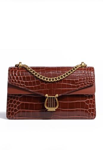 Twenty Eight Shoes brown VANSA Retro Crocodile Leather Crossbody Bag VBW-Cb80361 29F4CAC0CE7C98GS_1