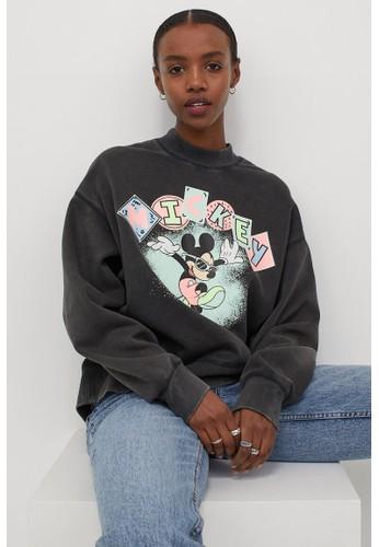 H&M black Printed sweatshirt A8157AAB7A3CDFGS_1