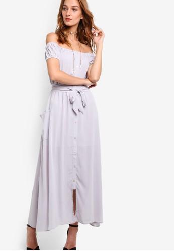Daleyza 繫帶束腰zalora 包包 ptt露肩連身長裙, 服飾, 洋裝