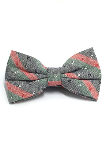 Splice Cufflinks Probe Series Green, Red and Black Striped Pattern Design Cotton Pre-tied Bow Tie SP744AC01QPQSG_1