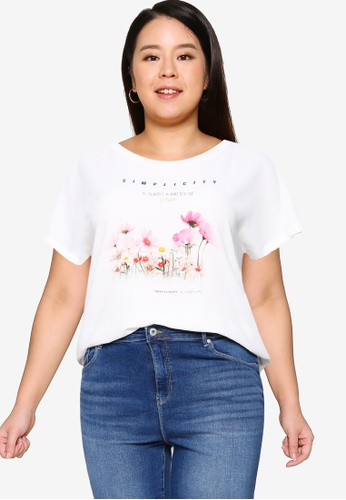 Only CARMAKOMA white Plus Size City In One Tee 444FAAA84D7EA1GS_1