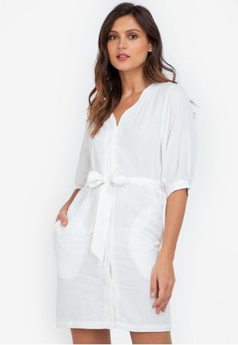 ZALORA WORK white Puff Sleeve Mini Dress 94F51AA3651DA0GS_1
