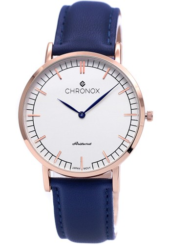 CHRONOX blue Chronox CX1001/B3 - Jam Tangan Pria Casual - Tali Kulit Biru - Putih Rose Gold CH541AC65JFEID_1