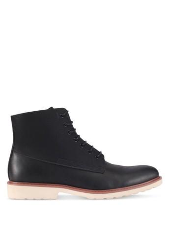ZALORA black Faux Leather Lace-Up Boots 26B96SH29D36BEGS_1
