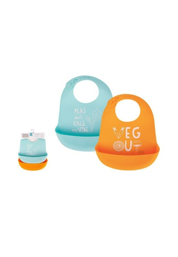 Little Kooma orange and blue Baby Silicone Bibs 2 Piece Pack 56057 - 1116 1206FKCE9163E7GS_1