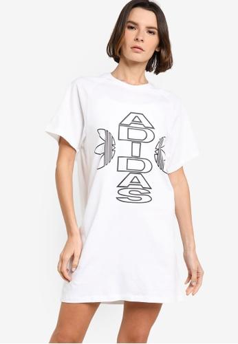 ADIDAS white collegiate tee dress 2E7DBAA5B1C057GS_1