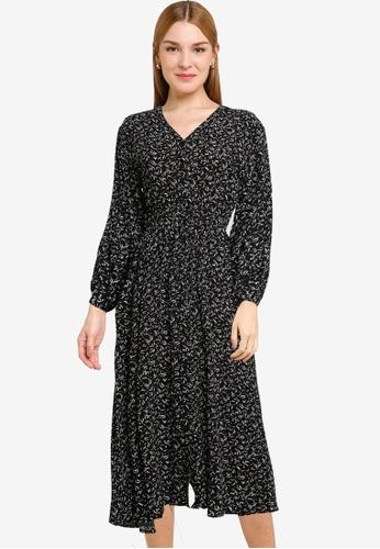 LOWRYS FARM black Printed Long Sleeves Midi Dress 12EA2AA82A8C0BGS_1