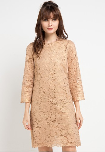 Icons gold 3/4 Sleeve Met Lace Dress F7348AA01221E4GS_1
