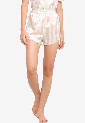 ZALORA BASICS beige Lounge Stripe Shorts BE898AA4C3BE5AGS_1