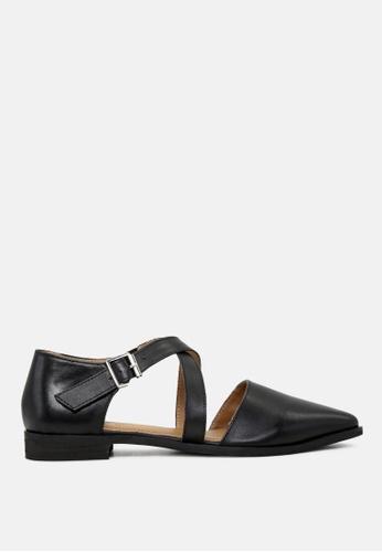 Rag & CO. 黑色 漏脚趾真皮凉鞋 FD948SH675ADD1GS_1