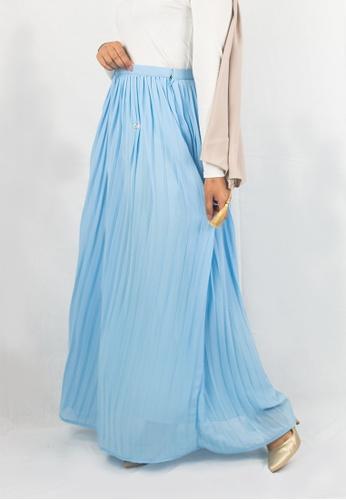Zaryluq blue Pleated Maxi Skirt in Blue Bell 7EE13AADD55325GS_1