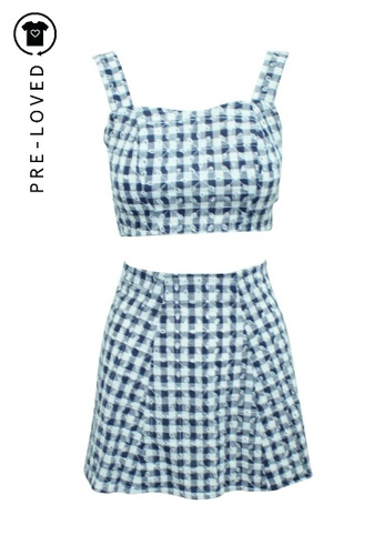 Reformation blue Pre-Loved reformation Checked Print Set D8EA3AA7A5AC9FGS_1