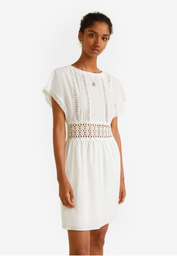 Mango white Guipure Panel Dress 18558AA521F1C1GS_1
