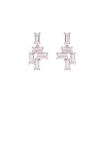 Glamorousky white 925 Sterling Silver Fashion Simple Geometric Stud Earrings with Cubic Zirconia C1802AC51813F4GS_1