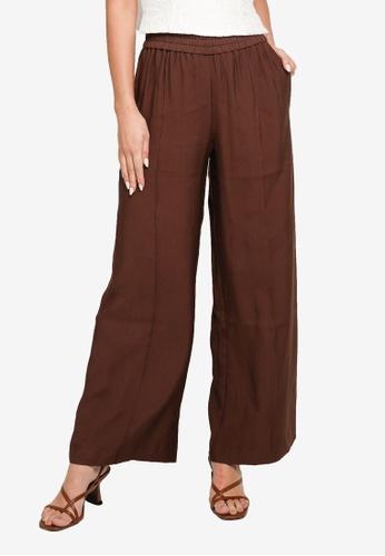 Forever New brown Petra Wide Leg Pintuck Pants 33B10AA19E1516GS_1