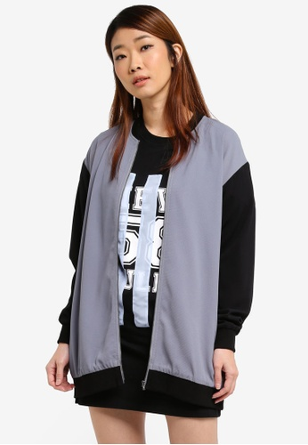 Something Borrowed grey Longline Bomber Jacket 18CFAAACA16819GS_1