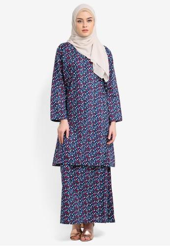 Azka Collection blue and navy English Cotton Baju Kurung AZ019AA0RTSUMY_1