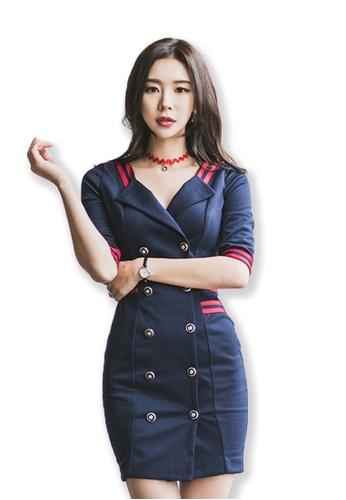 Sunnydaysweety blue 2017 F/W Blue Short Sleeves V-Neck One Piece Mini Dress UA092065 SU219AA0FXOJSG_1