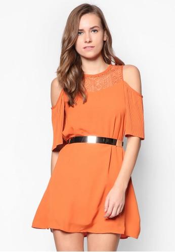 褶飾挖肩esprit sg短袖腰帶洋裝, 服飾, 派對洋裝