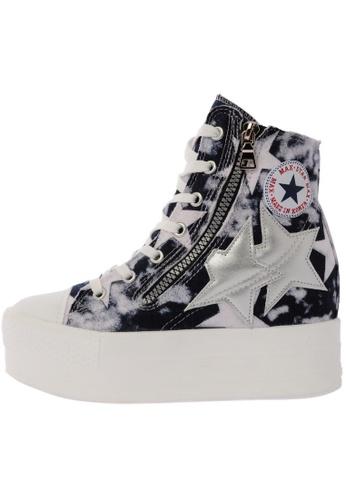 Maxstar C2 50 7 Holes Denim All White Platform High Top Sneakers US Women Size MA168SH78DLTHK_1