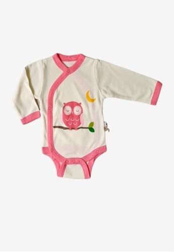 Babysoy white Long Sleeve Kimono Bodysuit Owl 4664CKA1E8A49AGS_1