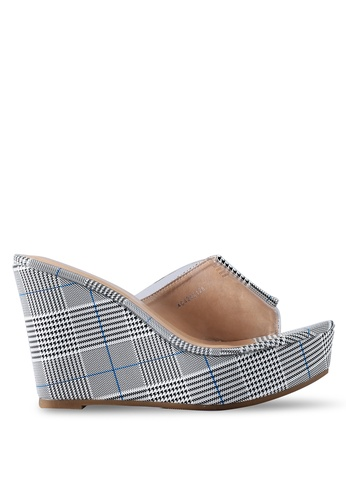 Nose 藍色 透明拼接楔型鞋 38652SH92FC29BGS_1