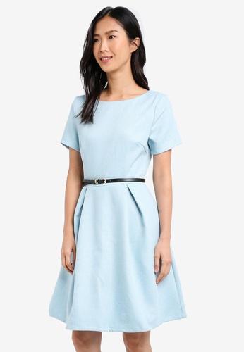 ZALORA blue Textured Fit & Flare Dress With Belt A7F45AA6A4457CGS_1