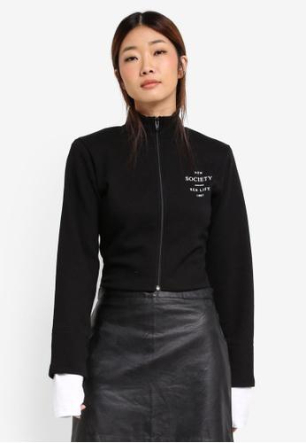 Stylenanda black Extended Sleeve Cuff Slim Fit Jacket ST343AA0SXKGMY_1