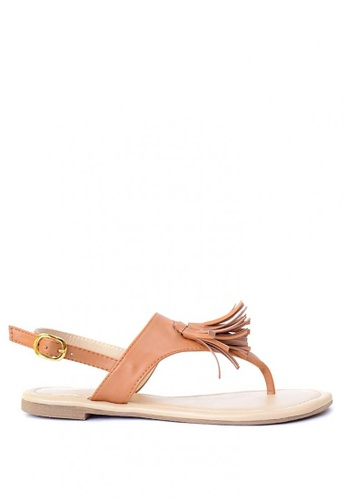 HDY brown Agatha Tassel Flat Sandals HD484SH83RQMPH_1