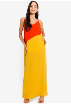 9f8704a6c38 Something Borrowed orange and yellow Colorblock Panel Cami Maxi Dress  29637AAB876E8AGS 1