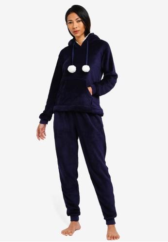 Dorothy Perkins navy Navy Lambi Pom Pom Pyjama Set CE14CAAFC98C17GS_1