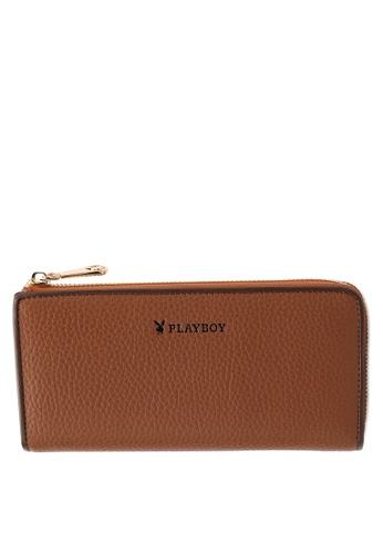 PLAYBOY BUNNY brown Genuine Leather RFID Blocking Long Wallet 5F3D2ACC55D737GS_1
