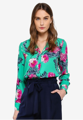 Vero Moda green Holly Midi Lapel Shirt E7F35AA6051E24GS_1