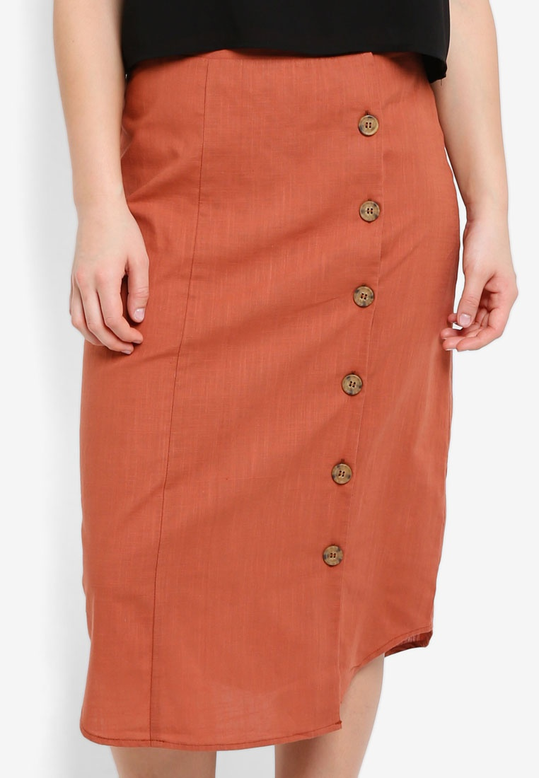 Side On Woven Midi Kelly Button Copper Cotton Brown Skirt PUtqdwt