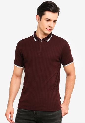 Burton Menswear London 紅色 羅紋拉鍊POLO衫 8BBAEAA36BFD93GS_1