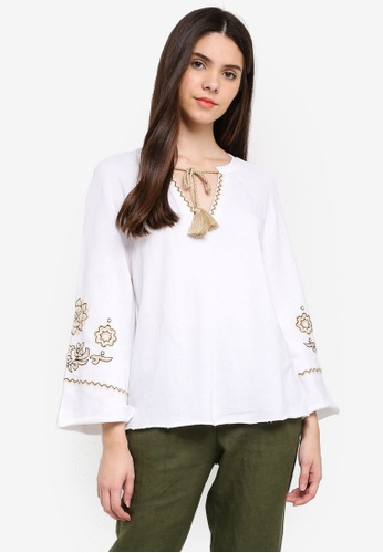 United Colors of Benetton white Bell Sleeves Blouse 69380AA713FB60GS_1