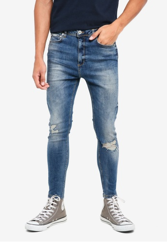 Superdry blue Spray On Skinny Jeans 30DA2AA1AA4A4AGS_1