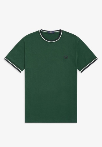 Fred Perry green M1588 - Twin Tipped T-Shirt - (IVY) 1AAE0AAF241724GS_1