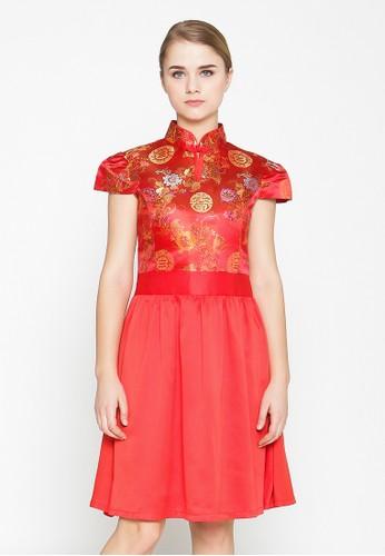 Heart and Feel red Cheongsam Mini Dress CA01AAAB599120GS_1