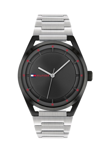 Tommy Hilfiger Watches black and silver Men's Silver Stainless Steel Barcelet and Black Dial Quartz Watch 82EEFACA2CB0FBGS_1