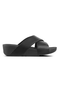 8e4d4a820 FitFlop black Lulu Cross Slide-Leather 77653SH19B13EEGS 1