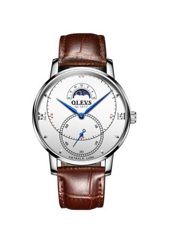 OLEVS multi Olevs Moon Track Men Leather Quartz Watch 7104EAC1A442CCGS_1