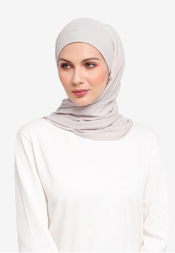 Ilham Echenta for ZALORA grey Glitters Mylia Hijab IL554AA0SY2IMY_1
