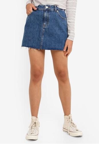 2ae619fdf5 Buy TOPSHOP Petite Dark Denim Skirt Online on ZALORA Singapore