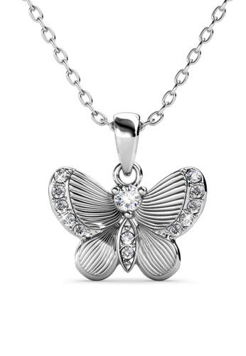 Her Jewellery silver Chrysalis Butterfly Pendant (White Gold) - Made with premium grade crystals from Austria F1A85AC9EA08FBGS_1