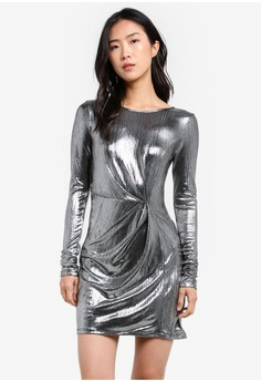 Silver Foiled Mini Shift Dress