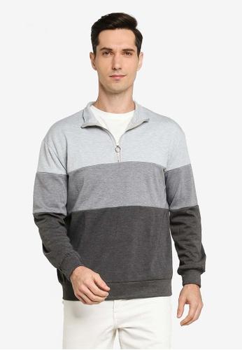 ZALORA BASICS grey Colour Blocked Zip Up Sweatshirt E00ACAA6B847E2GS_1