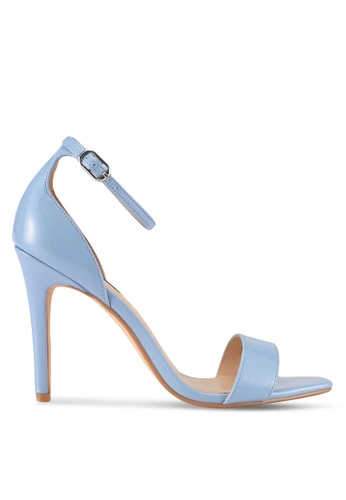ZALORA blue Square-Toe Patent Heels with Ankle Strap 6523ASH3485FACGS_1