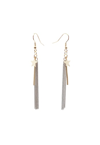 LUCCACAL silver Shooting Star Tassel Earrings 8E4B6AC1635D92GS_1